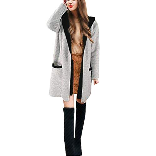 REALIKE Damen Elegant Kapuzen Zwei Falsche Strickjacke Mit Kapuzen Mode Patchwork Lose Sweatshirt Casual Mantel Stilvoll Light Outwear Wintermantel Wollmantel Coat Trenchcoat (S, Grau)