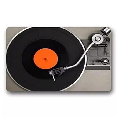 YUZE 40x60 cm Reproductor de Discos de Vinilo, Estera de Puerta de Bienvenida, Retro Vintage, Tocadiscos para DJ, Felpudo, Alfombra, Entrada de Suelo, Amante de la música, decoración del hogar