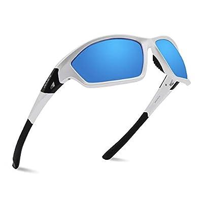 JOJEN Polarized Sports Sunglasses for Men Women Tr90 Ultralight Frame TAC JE008(Sliver Frame Blue Lens)