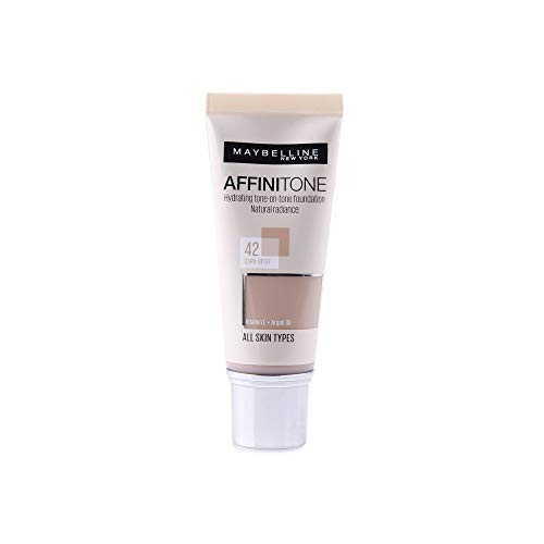 MAYBELLINE AFFINITONE PERFECTING AND PROTECTING FOUNDATION FOND DE TEINT , DARK BEIGE '42'