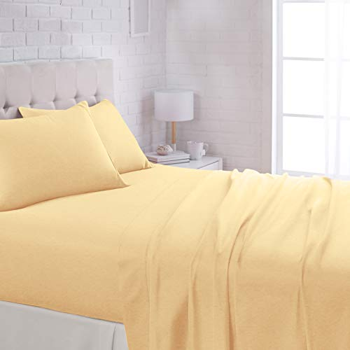 """AmazonBasics Lightweight Super Soft Easy Care Microfiber Bed Sheet Set with 16"""" Deep Pockets - Queen, Mustard Yellow"""