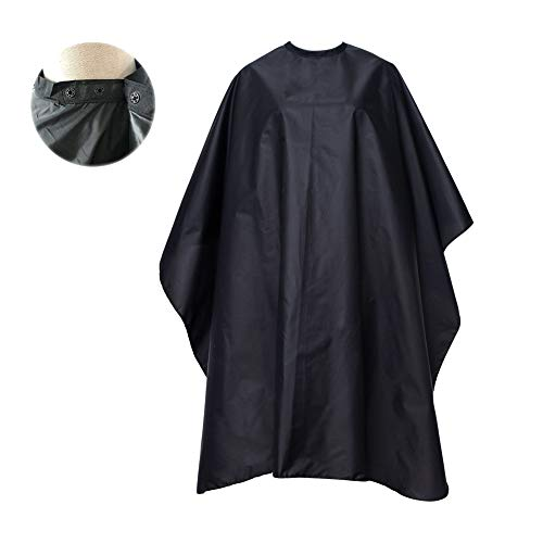 FocusOn Professional Barber Cape, Salon Cape with Snap Closure for Hair Cutting, Black 59' x 51'