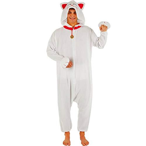 Chaks Unisex Kostüm Tier Winkekatze Pyjama Kigurumi weiß Tier Fasching (XL)