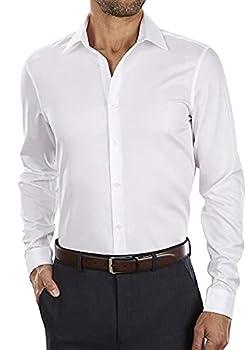 Calvin Klein Men s Dress Shirt Slim Fit Non Iron Herringbone White 15.5  Neck 32 -33  Sleeve  Medium  Point Collar