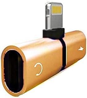كابل مقسم لمحول شحن الصوت لهاتف آيفون X 10 7 8 بلس لكابل مقبس الإضاءة إلى سماعات الأذن محول وصلة ايه يو اكس ذهبي