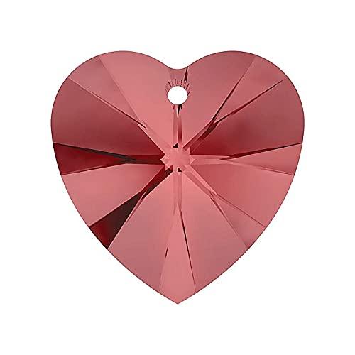 1 colgante con elementos Swarovski – Corazón (6228) Padparadscha, 18 x 17,5 mm (Swarovski Elements) – Corazón (6228) Padparadscha)