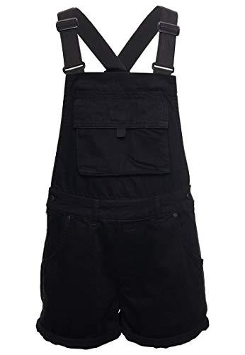 Superdry Damen Jeans-Latzhose im Boyshorts-Stil Verwaschenes Schwarz 34