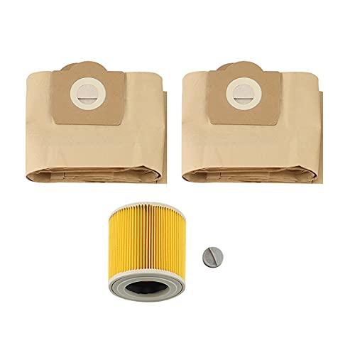 ZHANGLE Bolsa de Polvo 5X 1x Filtro for KARCHER WD3200.WD3300 A2204 A2656 Aspiradora (Color : Yellow)