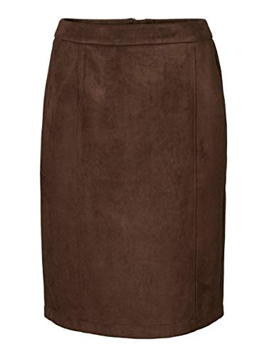 Vero Moda VMDONNADINA HW Faux Suede BK Skirt Falda, Marrón (Coffee Bean Coffee Bean), XS para Mujer