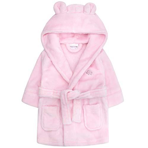Lora Dora Baby Mädchen Kapuzen Fleece Bademantel Soft Bademantel Größe 6–24Monate Gr. 92, Pink - Elephant