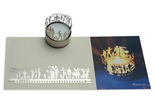 13gramm Hochzeit Windlicht Schattenspiel Geschenk, 3D Edelstahl Aufsatz für Kerze inkl. Karte