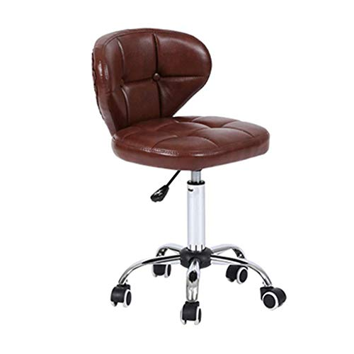 Barkruk bureaustoel PU-leer | kantoor thuis kantoor stoelen draaistoelen | woonkamer & spa kruk stoelen | bar kruk met wielen en achterkant bruin barkruk