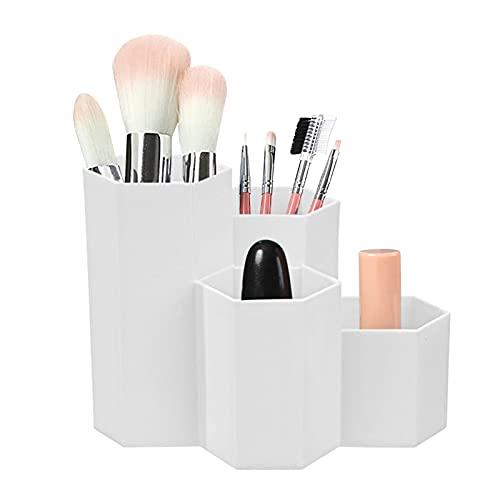 Porte-stylo Hexagonal en Plastique,Multi-Usages Porte-Stylo,Plastique Pot Crayon,Pot de Rangement de Pinceaux Maquillage,rangement Boîte à pinceaux,Boîte à crayons en plastique Hexagonal (Blanc)