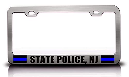 DKISEE State Police Nj Police Cop License Plate Frames 2 Pack, Aluminum Metal Auto Tag Car Accessories, 6x12 Inch, CB2305