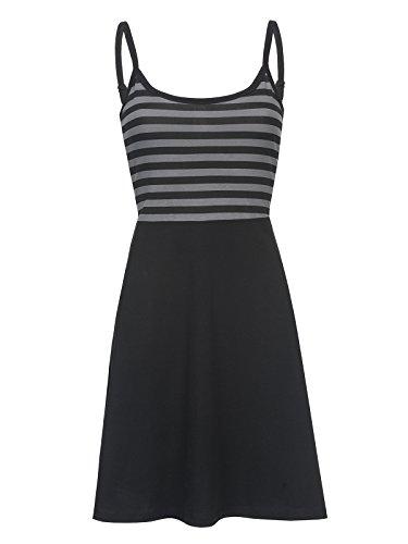 Pussy Deluxe Pretty Stripes Kleid Schwarz Allover, Größe:XL