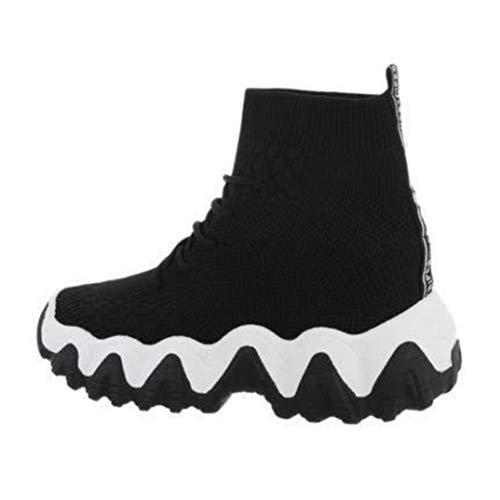 Generique Sneaker Montante, zapatillas y suela dentada mixtas, Rojo (Negro ), 39 EU