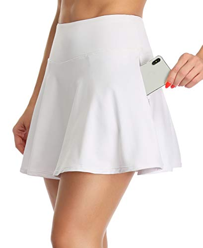Oalka Women's Pleated Skirt with Pockets High Waist Sports Athletic Running Shorts Golf Tennis Skorts Pure White Medium