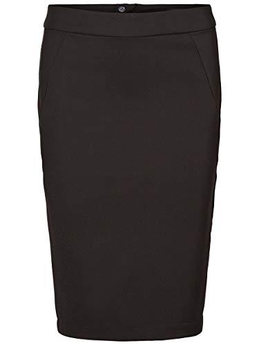 VERO MODA Damen VMVICTORIA HW Pencil Skirt NOOS Rock, Schwarz (Black), 38 (Herstellergröße: M)
