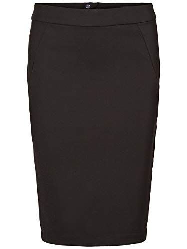 VERO MODA Damen VMVICTORIA HW Pencil Skirt NOOS Rock, Schwarz (Black), 36 (Herstellergröße: S)