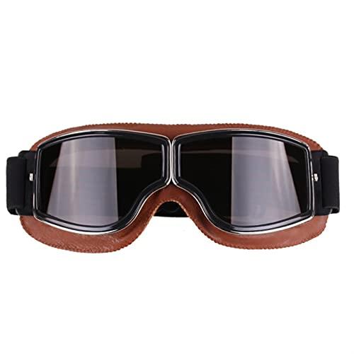 LHSJYG Gafas De Moto Gafas de motocicleta al aire libre retro Vintage Gafas de Motocross Deportes Ciclismo Ciclismo Suciedad Bicicleta para Aviator Sunglasses Gafas Motocross (Color : Brown box Gray)