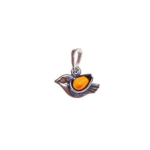 Artisana-Schmuck Pequeño colgante de pájaro de ámbar y plata de ley 925/000