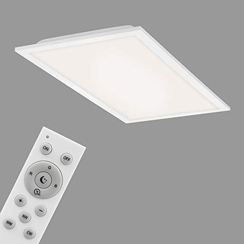 Briloner Leuchten - Panel LED, lámpara de techo WiFi regulable, RGB, control por aplicación, función de temporizador, función de memoria, 24 W, 2400 lúmenes, color blanco, 595x295x61 mm