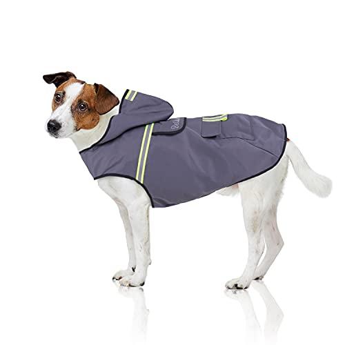 Bella & Balu Hunderegenmantel – Wasserdichter Hundemantel mit Kapuze und Reflektoren für trockene, sichere Gassigänge, den Hundespielplatz und den Urlaub mit Hund (XS   Grau)