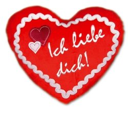 Peperkoekhart kussen Ik hou van jezelf - kussen in hartvorm - pluche kussen - pluche hartkussen