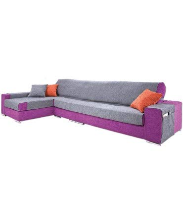 10XDIEZ Funda de sofá Chaise Longue Paula - Color - Gris, Lado - Derecha, Size - XL