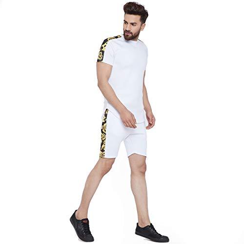 FUGAZEE Men's White Venetian Combo Summer Suit