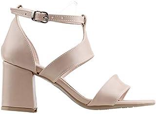 Ayakland 11005-249 Günlük 7 Cm Topuk Bayan Cilt Sandalet Ayakkabı Pudra