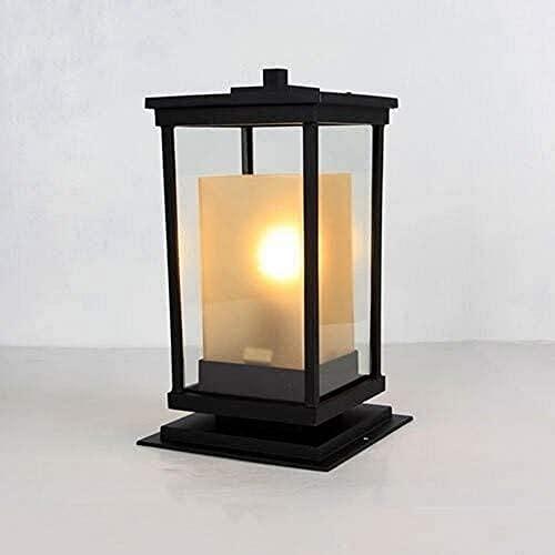 Lámpara de poste de pilar al aire libre de aluminio cuadrado negro clásico Lámpara de columna de jardín al aire libre impermeable Lámpara de vela de vidrio E27 Patio exterior Terraza Luz de mesa de po