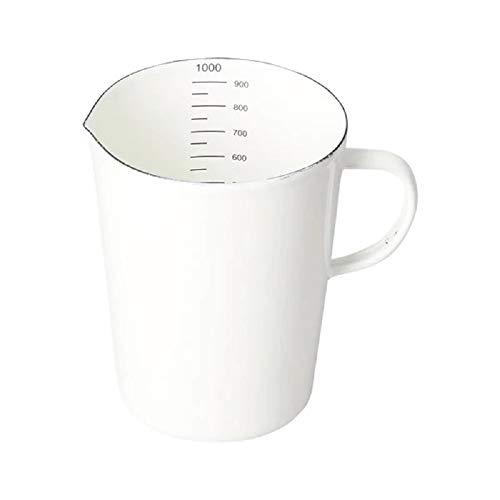 SLHP Emaille Messbecher Retro Kleiner Emailliert Behälter Messkanne Measuring Cup 0,5 Liter/ 1 Liter (Weiß, 1 Liter)