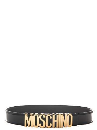 Moschino Gürtel schwarz, mit Logo in glänzendem Gold, Höhe 3,5 cm, verstellbarer Verschluss, Schwarz 42
