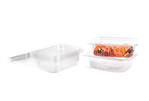 CONTITAL Contenitori in PET A04 - Vaschette Rettangolari 750 cc monouso per Alimenti con coperchio, 100 pezzi