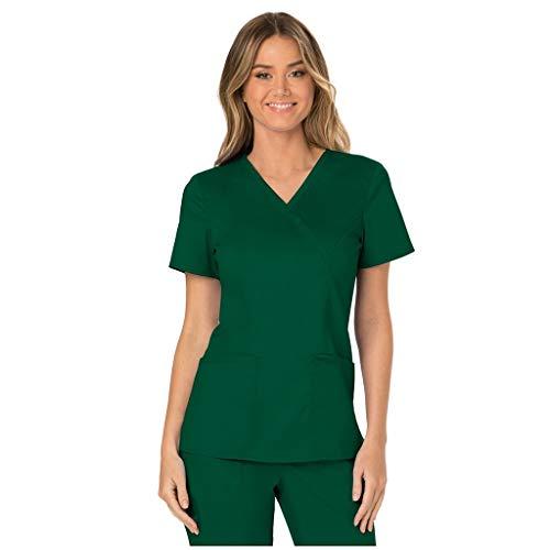 Zilosconcy Arbeitskleidung Unisex Kurzarm T-Shirt Tops V-Ausschnitt Pflege Arzt Uniform Berufsbekleidung Krankenschwester Kleidung Damen Uniformen Oberteil mit Tasche GrünS