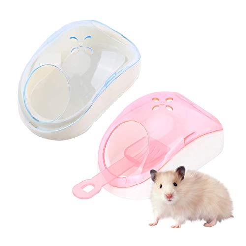 DBAILY Hamster Toilette, 2pcs Hamster Kleintiere Sand Badezimmer Mini Haustier Kunststoff Sauna Toilette mit Schaufel für Rennmaus Rattenmäuse Frettchen Chinchilla (Rosa, Blau)