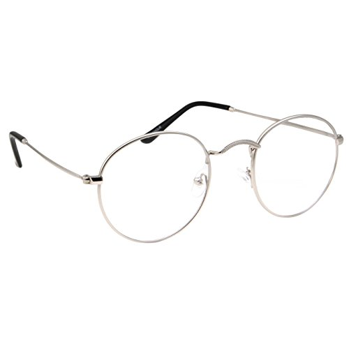 Retro Round Clear Lens Glasses Metal Frame - Silver