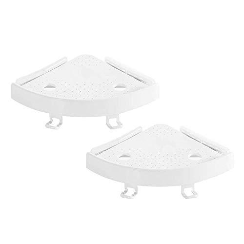 Volwco Eckregal, 2 Stück, weiß, Eckregal, Aufbewahrungsregal mit Haken, Starke Saugnapf-Wandmontage, für Bad und Küche