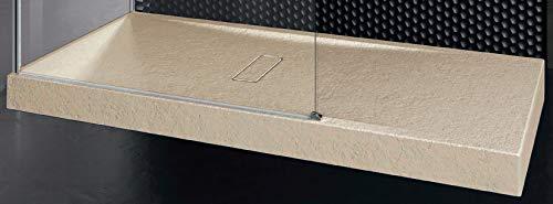 Piatto Doccia Novellini Custom Touch Dimensione 160x90 Altezza Spessore 12 cm Colore Beige Appoggio Pavimento Effetto Pietra Acrilico Compreso Piletta Scarico e Copri Piletta