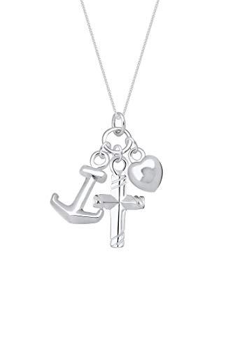 Elli Halskette Damen Anker Herz Kreuz Anhänger in 925 Sterling Silber