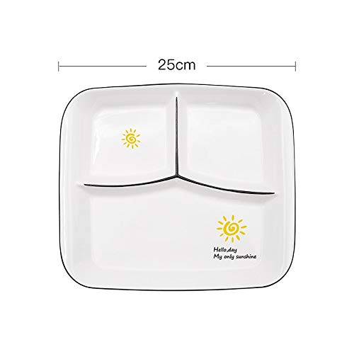 Tableware Ration Porcelain Bowl Food partition Plate Breakfast Cartoon Plate Rectangular Household Multi Grid Plate (Sunshine)