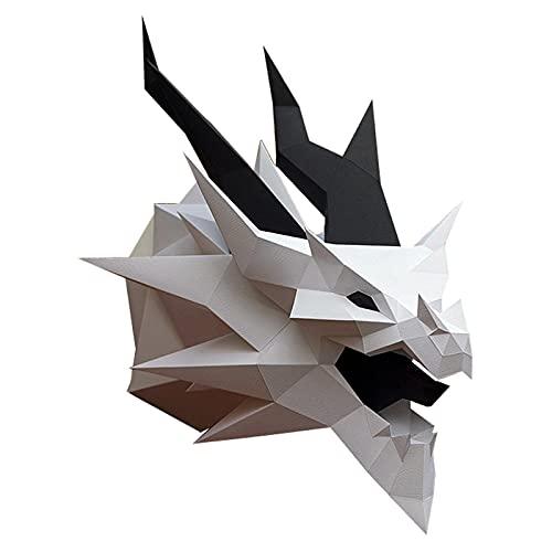 WLL-DP Personalizado 3D Dragon Head Decoración De La Pared Juego Hecho A Mano Escultura De Papel Papel Geométrico Artesanía DIY Origami Puzzle Papel Juguete Modelo