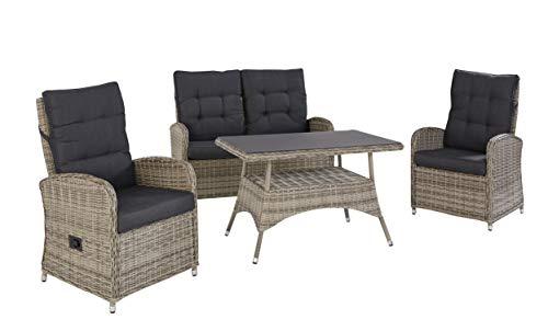 Wholesaler GmbH Exklusive Sitzgruppe Speisegruppe Monaco für die Terrasse oder den Garten - Gartenmöbel Set Essgruppe Poly Rattan in Natur grau 2 Sessel Sofa und Tisch