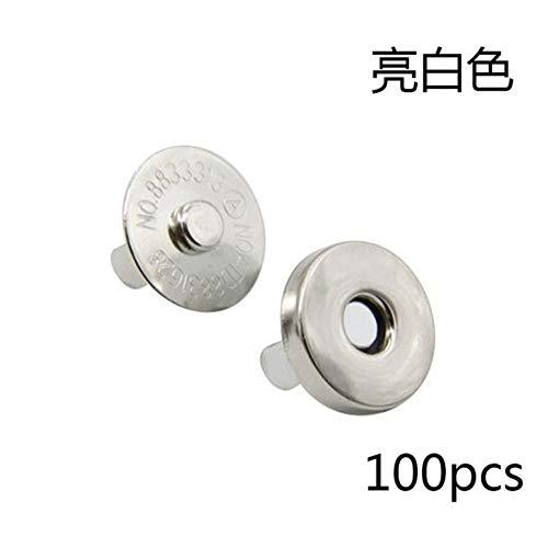TTYAC 50pcs / Lot Bolsas prácticas Botones magnéticos Broches de presión de Metal Botones de imán de prendas artesanales Accesorios de bricolaje 14 / 18mm, Plata, 18mm