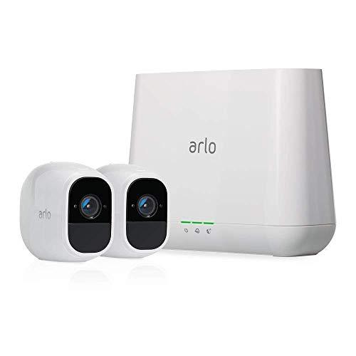 Arlo Pro 2 Smart Home 2 HD-Überwachungkamera-Sicherheitssystem (Alexa kompatibel, 130 Grad Blickwinkel, Nachtsicht, Wetterfest, 2-Wege Audio) weiß, VMS4230P-100EUS