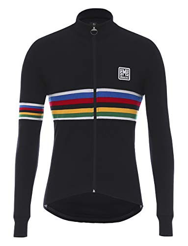Santini Herren UCI Rainbow Design Wool Langarm-Trikot, Mehrfarbig, Large