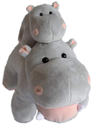EH Exceptional Home Hippo Stuffed Animals Oh So Soft Plush Mother Baby Hippos Hippopotamus Toy Set