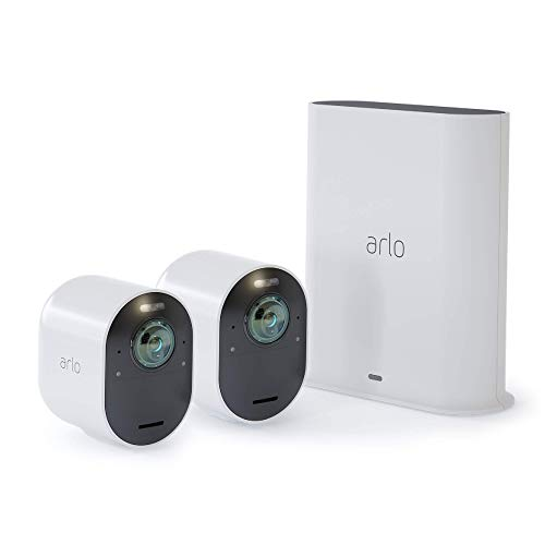 Arlo Ultra - 4K UHD Wire-Free Security 2 Camera System | Indoor/Outdoor with Color Night Vision, 180° View, 2-Way Audio, Spotlight, Siren | Compatible with Alexa and HomeKit | (VMS5240) (Renewed)