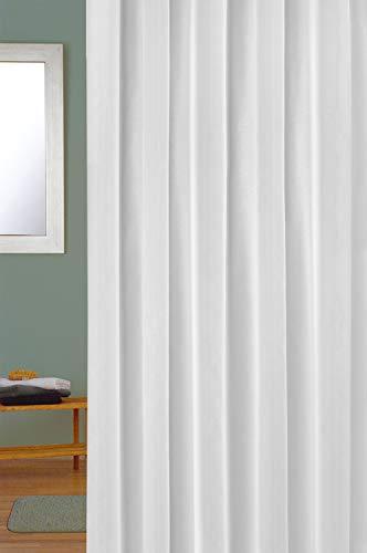Cuco´S Nest Cortina de Ducha, Cortina de baño Mod. Prima,240 x 200 cm, 100% Poliester de Primera Calidad y Alta Resistencia, Antimoho, Antibacterias, Color Blanco.